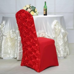 Spandex Chair Covers Canada Medical Shower With Arms Premium Banquet Tableclothsfactory Com Red Satin Rosette Stretch Cover