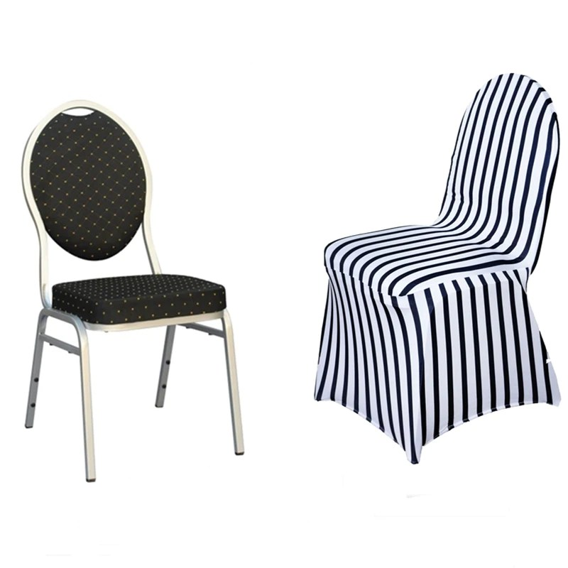 black banquet chair covers for sale adirondack plans dxf white striped spandex stretch cover fits over style chairs