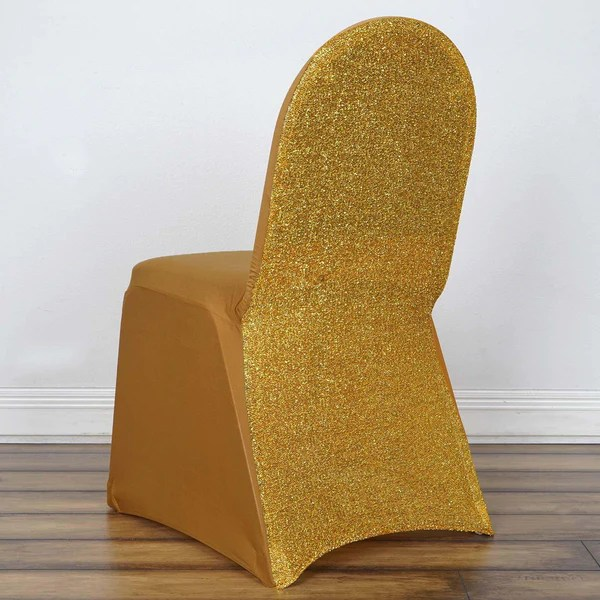 stretch chair covers high attaches to spandex tableclothsfactory com gold banquet cover with metallic glittering back