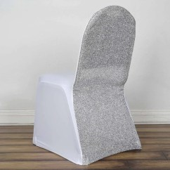 Decorative Chair Covers For Sale Beach Lounge Folding Spandex Tableclothsfactory Com White Stretch Banquet Cover With Silver Metallic Glittering Back