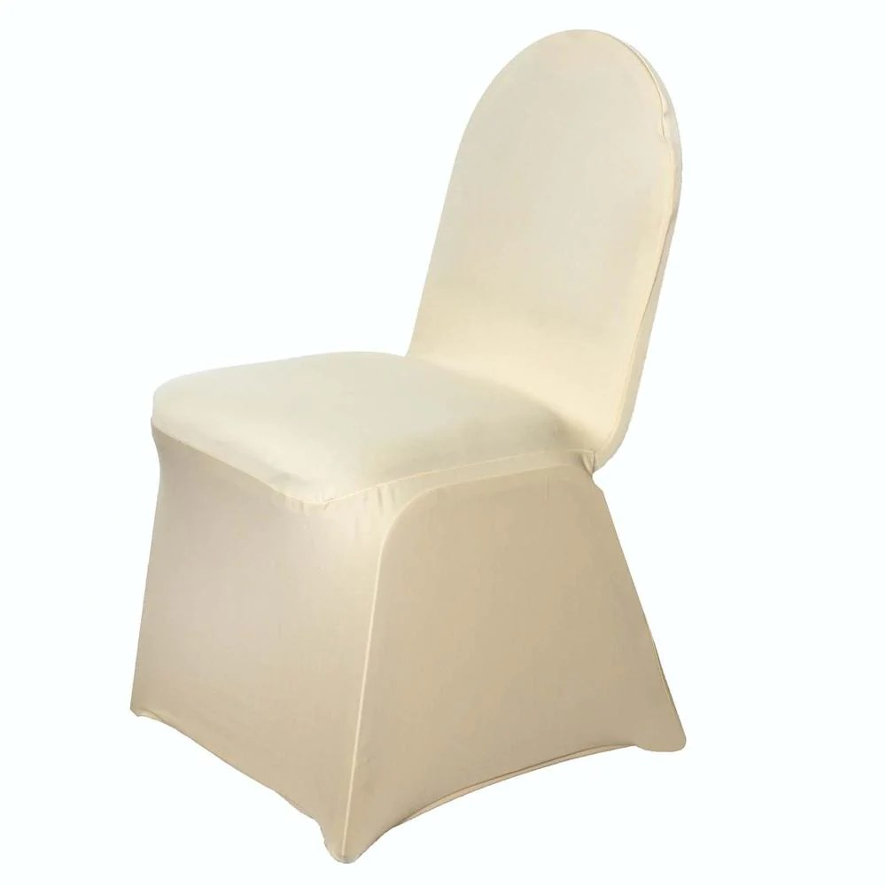Champagne Chair Covers 160 Gsm Champagne Stretch Spandex Banquet Chair Cover With Foot Pockets