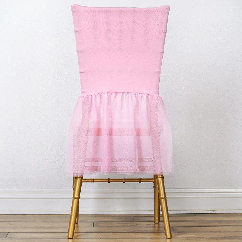 Cover For Chair Pink Sheer Tulle Tutu Spandex Chair Skirt Covers