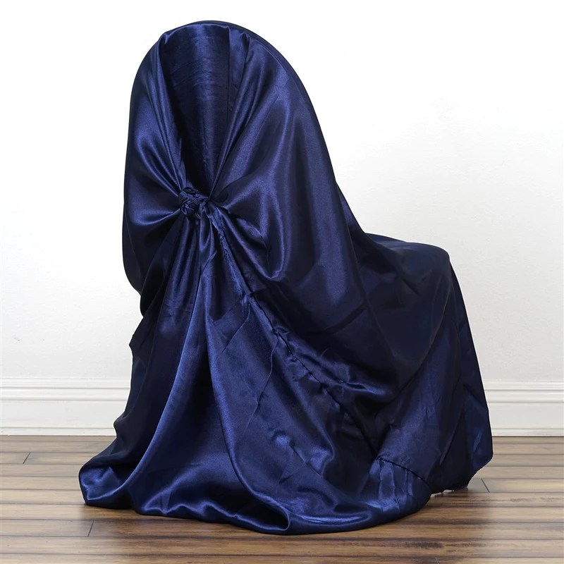 chair covers universal swoop arm accent navy blue satin cover tablecloths factory decor