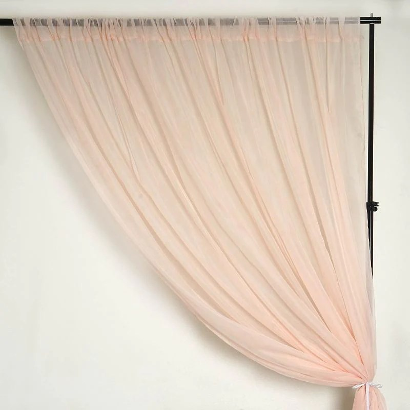 pack of 2 5ftx10ft blush rose gold fire retardant sheer organza premium curtain panel backdrops with rod pockets