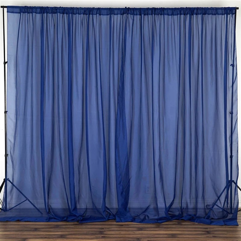 10FT Fire Retardant Navy Sheer Voil Curtain Panel Backdrop Premium Collection Tablecloths
