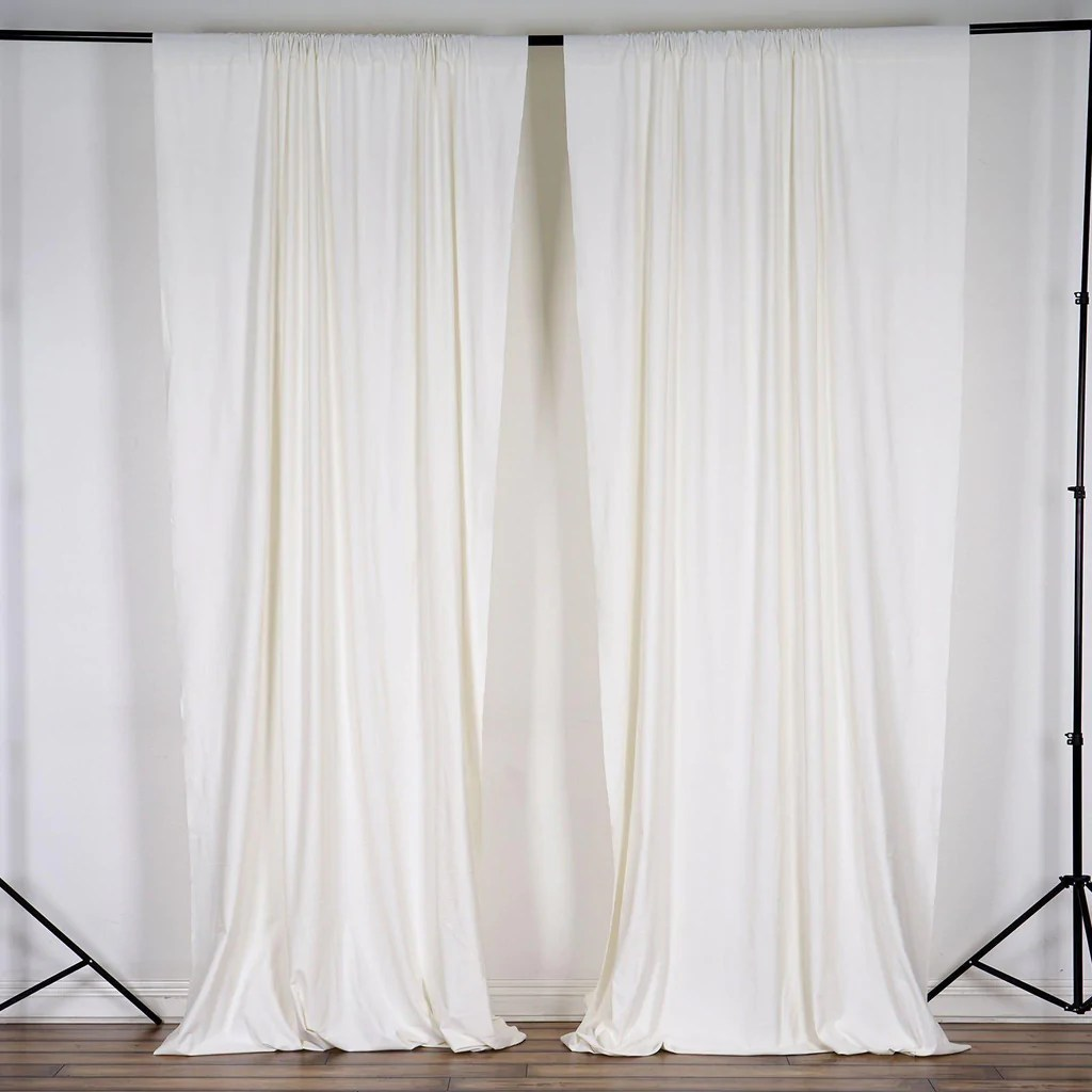 pack of 2 5ftx10ft ivory fire retardant polyester curtain panel backdrops with rod pockets