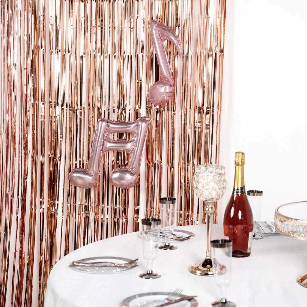 8ft blush rose gold metallic foil fringe curtain