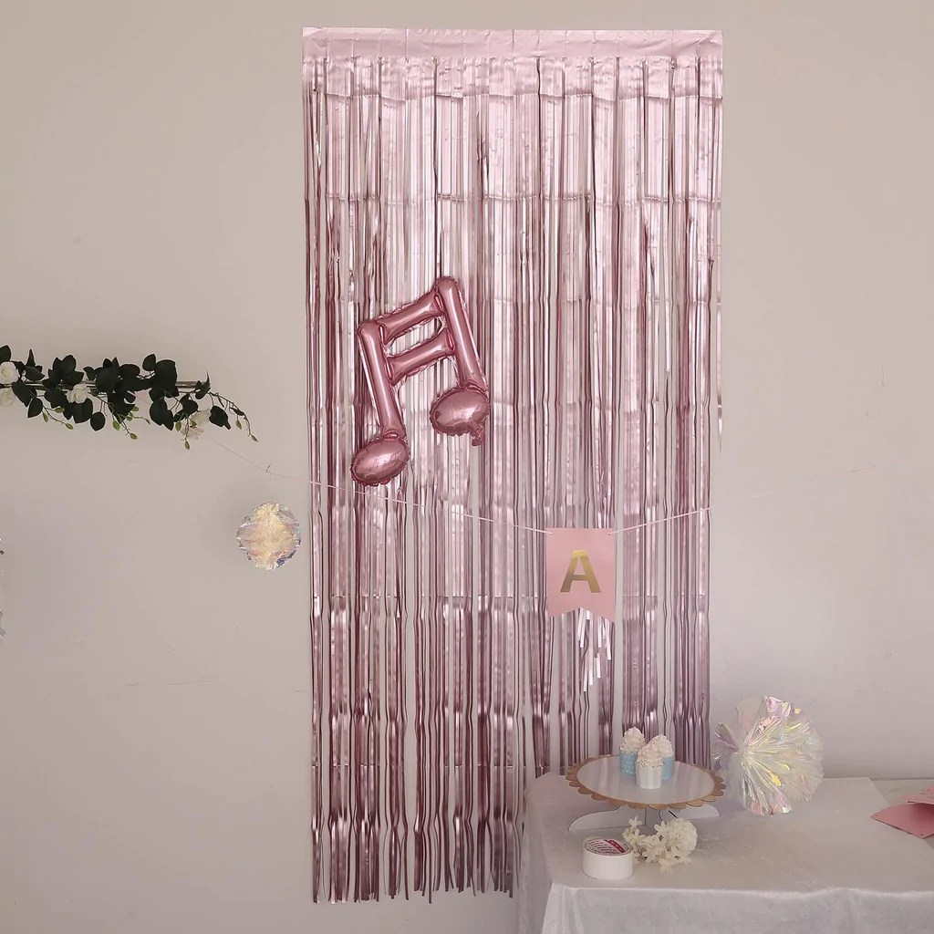 8ft dusty rose metallic foil fringe curtain doorway and party backdrop curtain