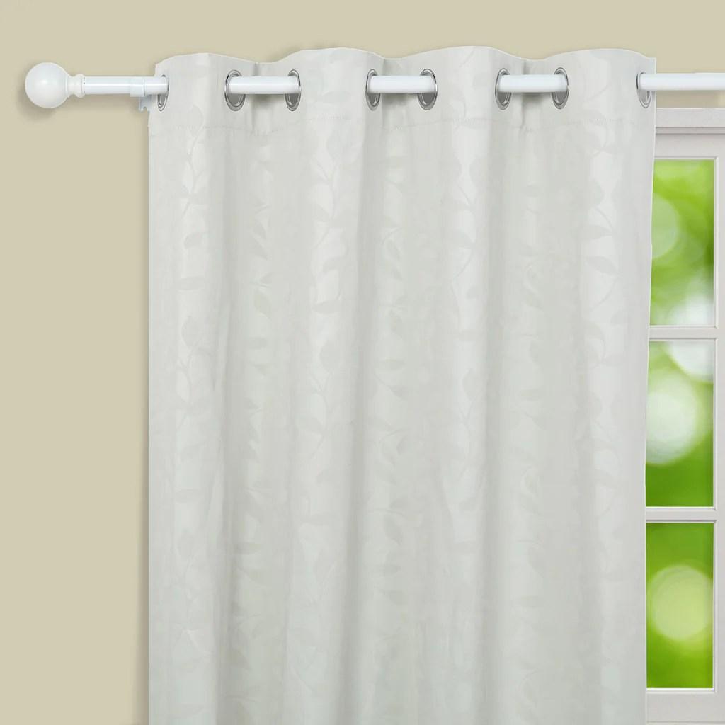 42 126 adjustable curtain rod set white round finials