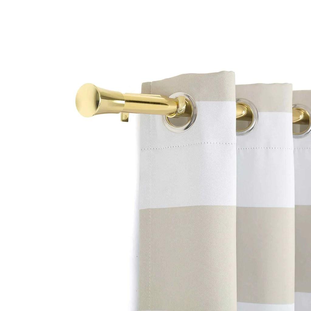 42 126 metal adjustable curtain rods gold trumpet finials