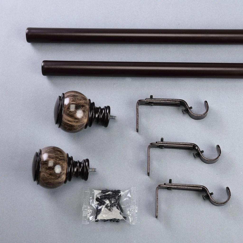 42 126 adjustable curtain rod set chocolate brown marble finials