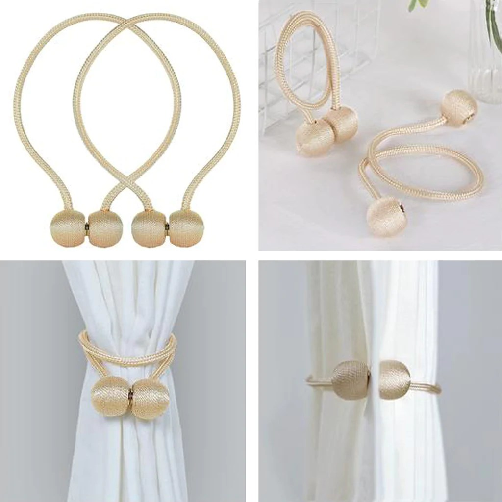 2 pack magnetic curtain tie backs for window curtains and drapes champagne