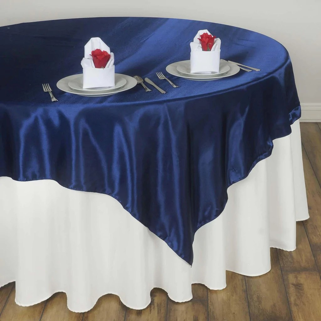60 Navy Blue Seamless Satin Square Tablecloth Overlay
