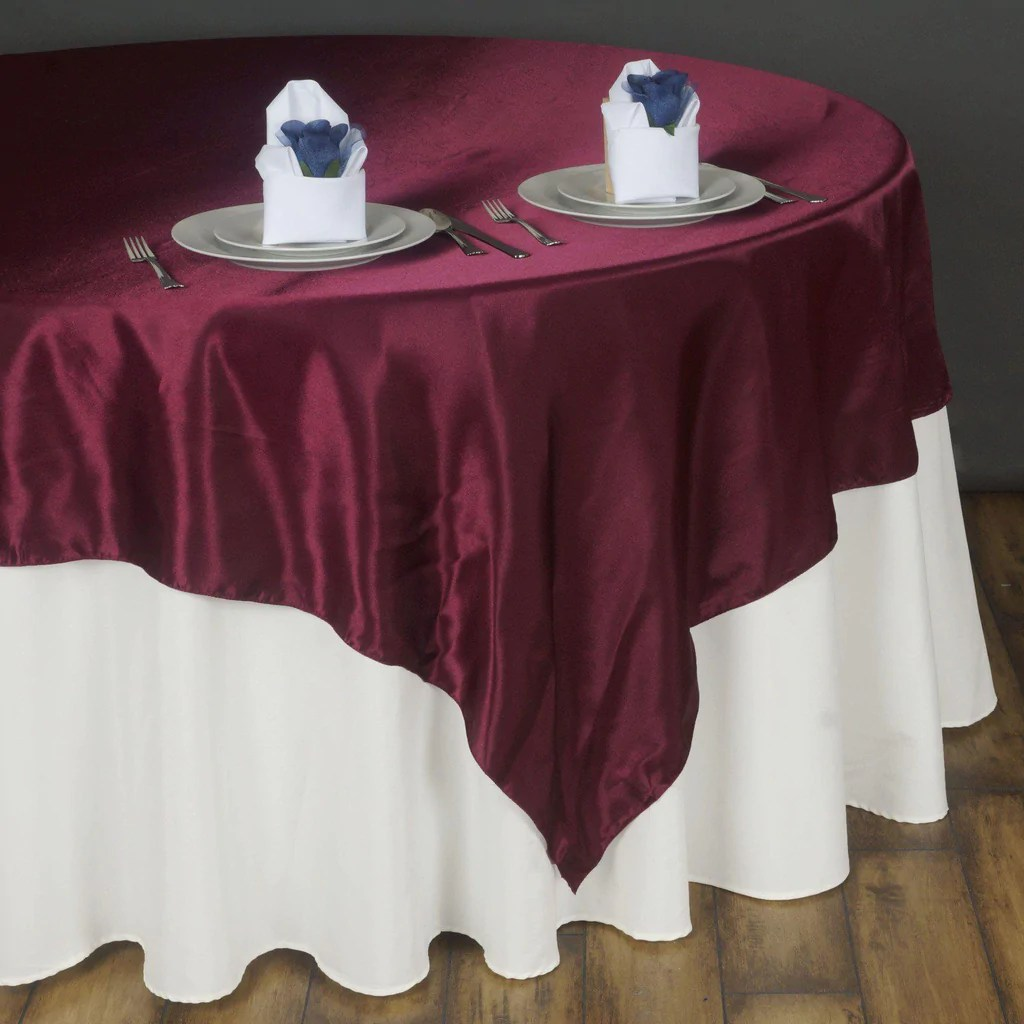 90 Burgundy Seamless Satin Square Tablecloth Overlay