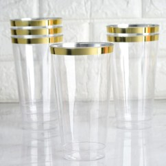 Chair Covers Banquet Desk Arm 12 Pack 18oz Gold Rimmed Clear Cocktail Disposable Plastic Glasses | Tablecloths Factory ...