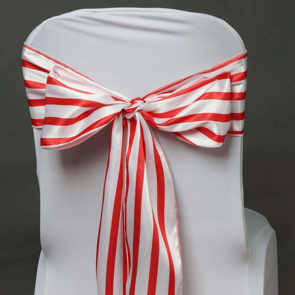Red Chair Sashes 5pc X Lovable Satin Stripes Chair Sash White Red