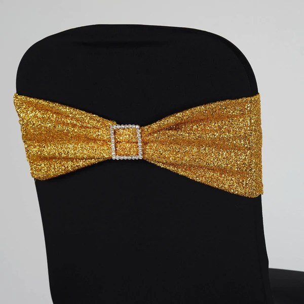 yellow spandex chair sashes amazon stools chairs tableclothsfactory com 5 pack gold metallic shiny glittered