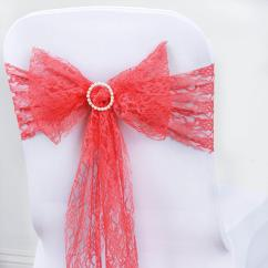 Coral Sashes For Wedding Chairs Wicker And Coffee Table 5 Pcs Lace Chair Tie Bows Catering