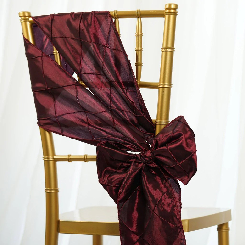 burgundy chair covers wedding dining set with bench and chairs 5pc x sash pintuck tablecloths factory