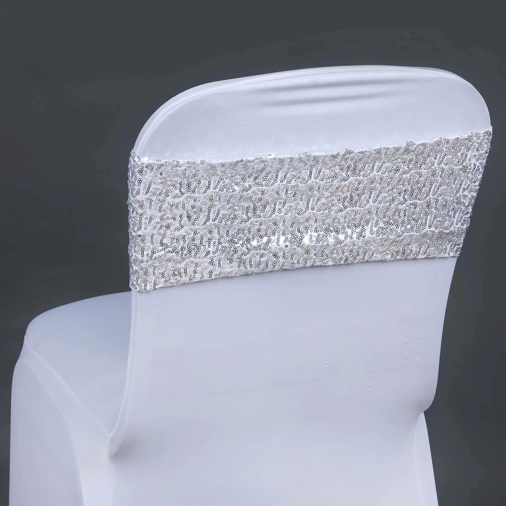 5pc x Spandex Sequined Chair Sash  Silver  Tablecloths