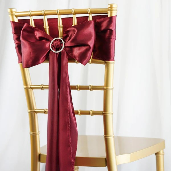 dark red chair sashes yoga certification florida satin tableclothsfactory com 5 pack 6 x106 burgundy