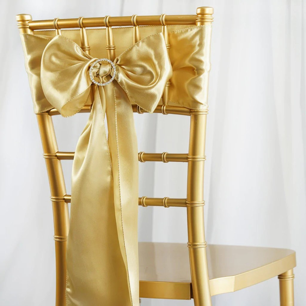 Champagne Chair 5pcs Champagne Satin Chair Sashes Tablecloths Factory