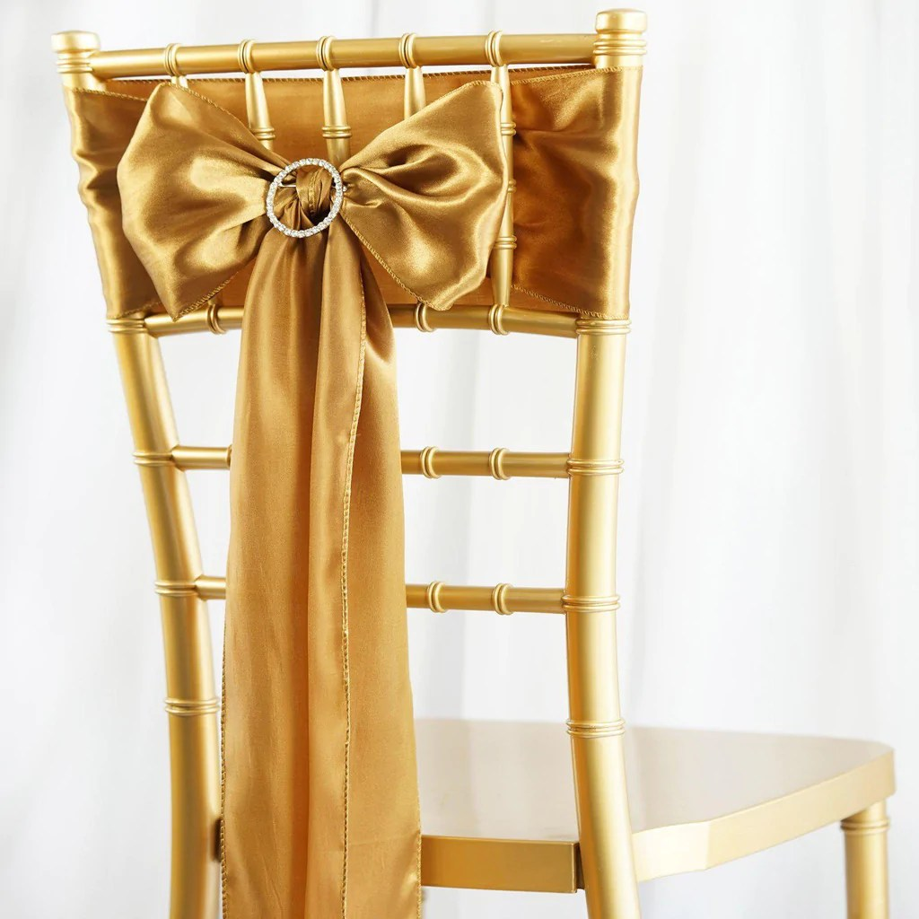 How To Make Chair Sashes 5pcs Gold Satin Chair Sashes Tablecloths Factory