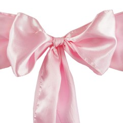 Chair Covers With Pink Bows Revolving Hairdresser 5pcs Satin Sashes Tie Catering Wedding