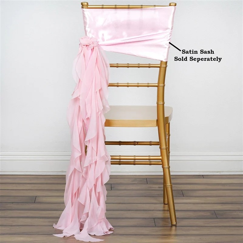 rose gold satin chair sashes high back living room chairs blush chiffon curly sash tablecloths factory willow
