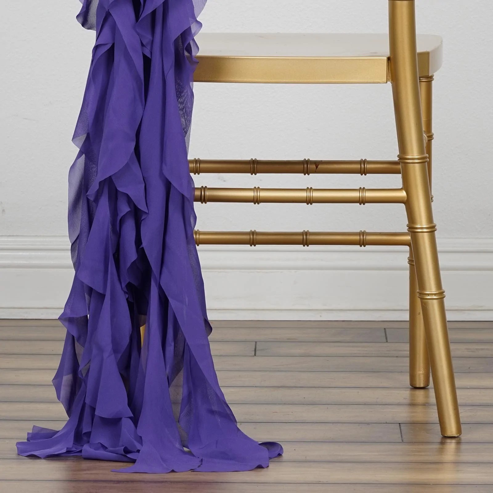purple chair sashes for weddings bar height chiffon curly willow catering