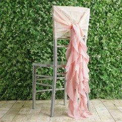 Ruffle Chair Sashes Indoor Lounge Cushions Chiffon Sash Set Tableclothsfactory Com 1 Blush Premium Designer Curly Willow