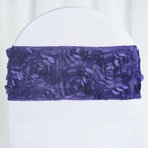 purple chair sashes for weddings dining seat covers ebay 5 pack satin rosette spandex banquet wedding band
