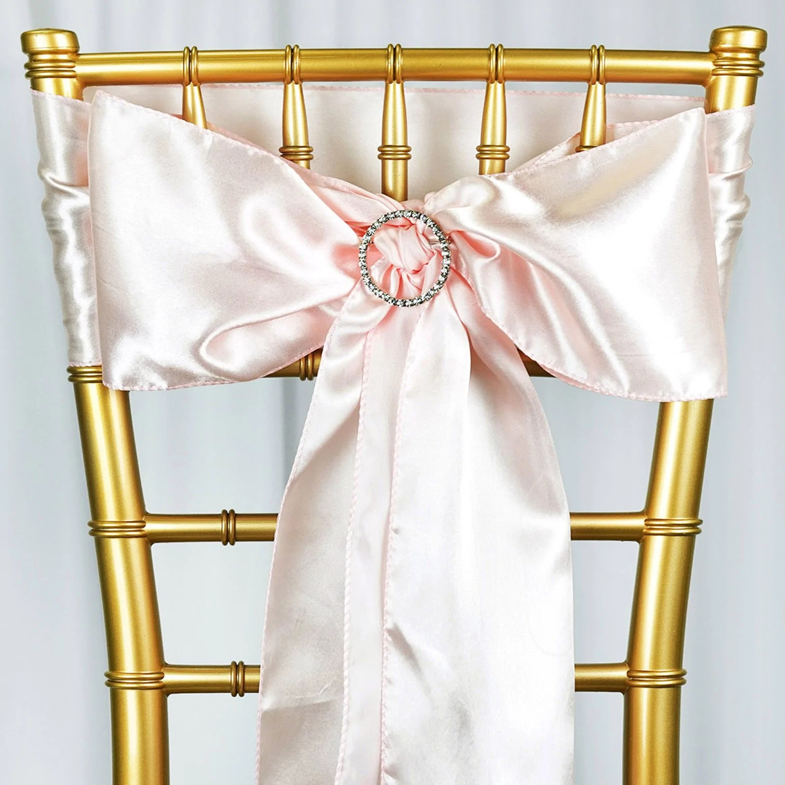 rose gold satin chair sashes wicker fan back chairs 5 pack 6 x106 blush sash tablecloths factory