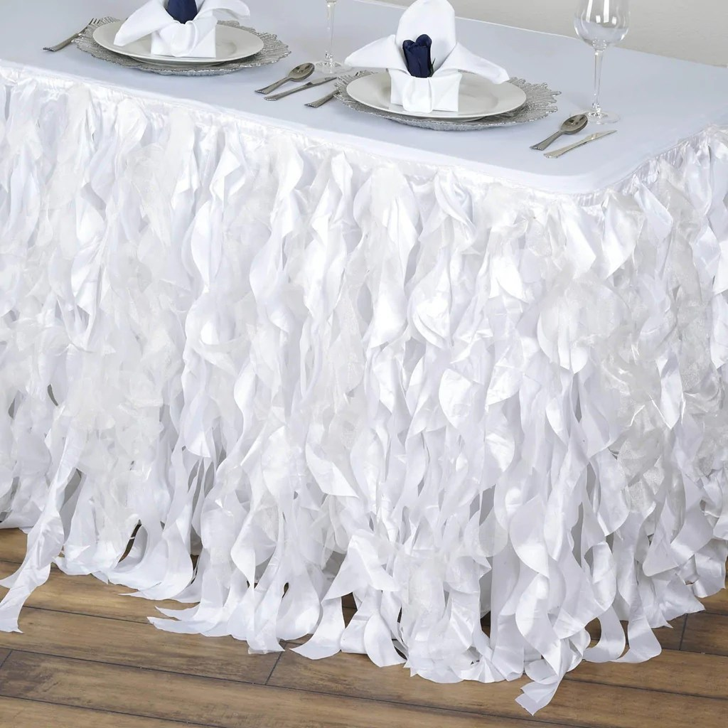 living room chair covers outdoor chairs for sale 17ft enchanting curly willow taffeta table skirt - white | tablecloths factory ...