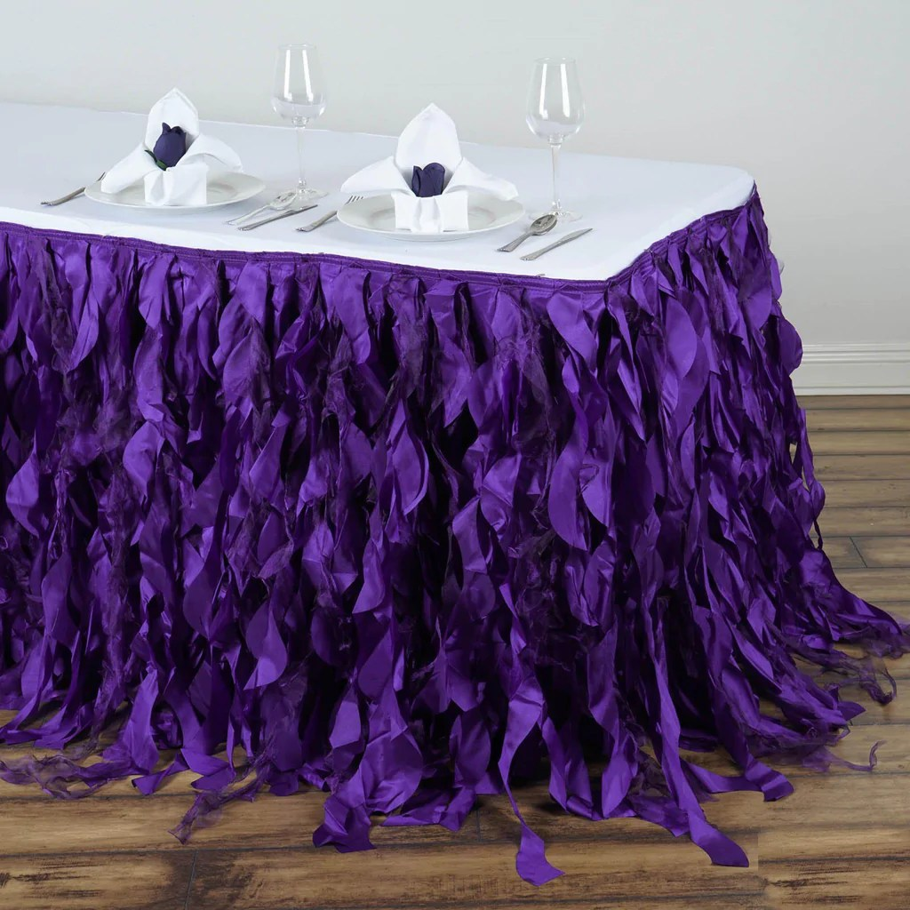 chair covers spandex wedding best xbox gaming 2018 17ft enchanting curly willow taffeta table skirt - purple | tablecloths factory ...