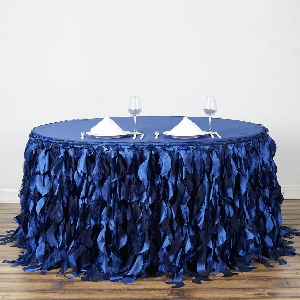 wholesale folding chair covers for sale cushion 21ft navy blue curly willow taffeta table skirt – tableclothsfactory.com