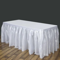 Polyester Banquet Chair Covers Samsonite Patio Replacement Parts White Table Skirt / Satin - 14' | Tablecloths Factory – Tableclothsfactory.com