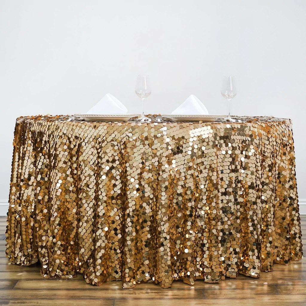 gold sequin chair covers self defense 120 quot big payette round tablecloth premium