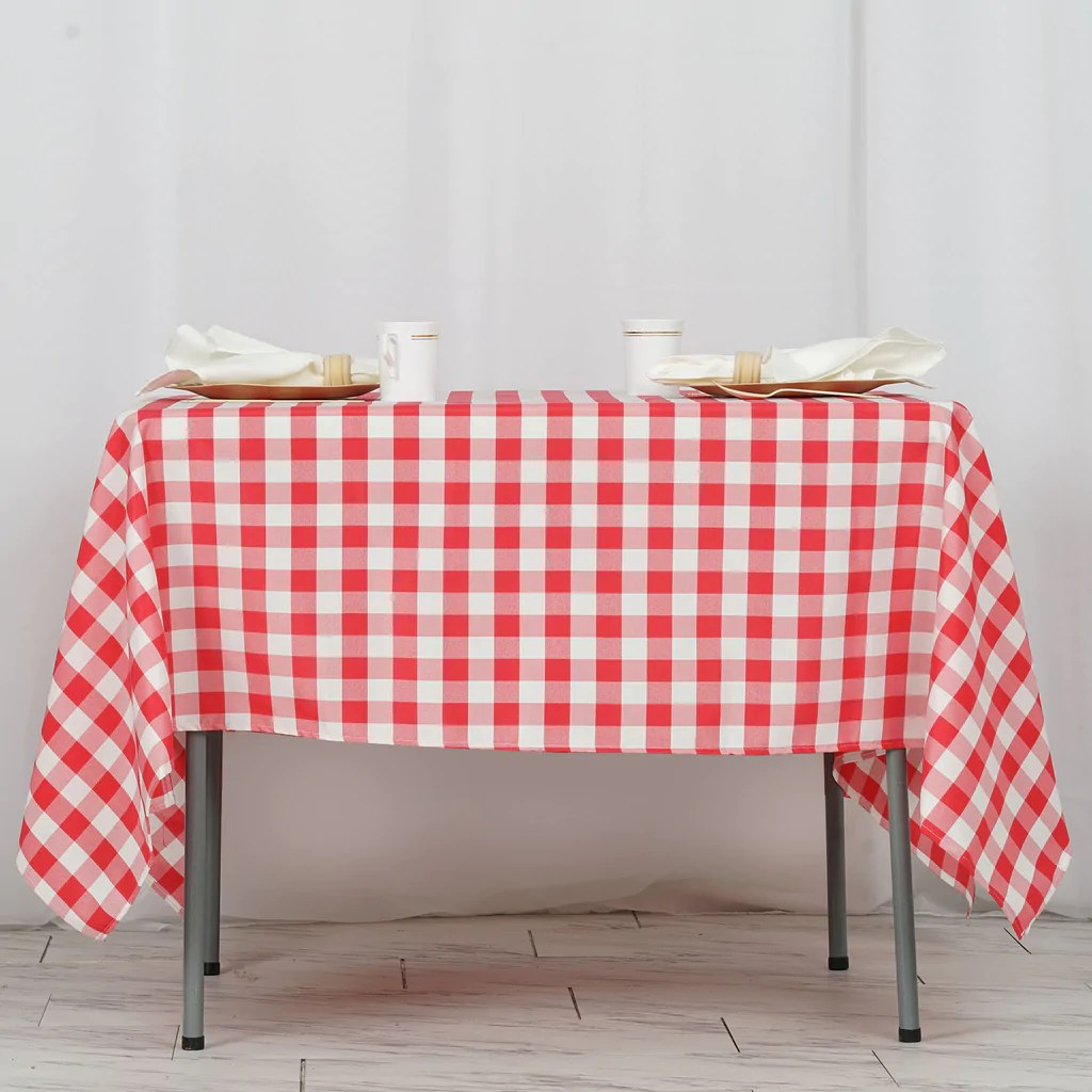 70 Square Red  White Checkered Wholesale Gingham