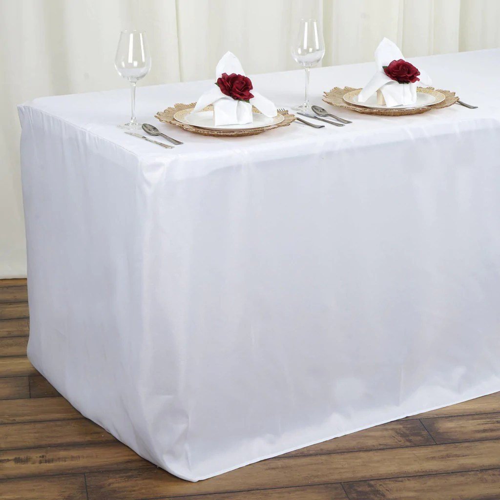 white banquet chair covers rental tucson 4ft fitted wholesale polyester table cover wedding event tablecloth | tablecloths ...