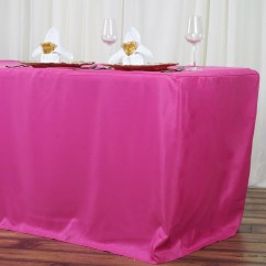 Chair Covers And Table Linens Wholesale La Z Boy Black Leather Executive Office Uk 8ft Fitted Fushia Polyester Cover Wedding