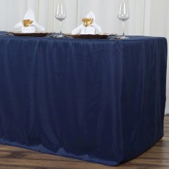 Cheap Chair Covers And Linens Scandinavian Design 8ft Fitted Navy Blue Wholesale Polyester Table Cover