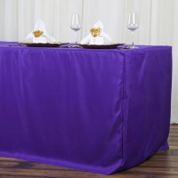 8FT Fitted PURPLE Wholesale Polyester Table Cover Wedding ...