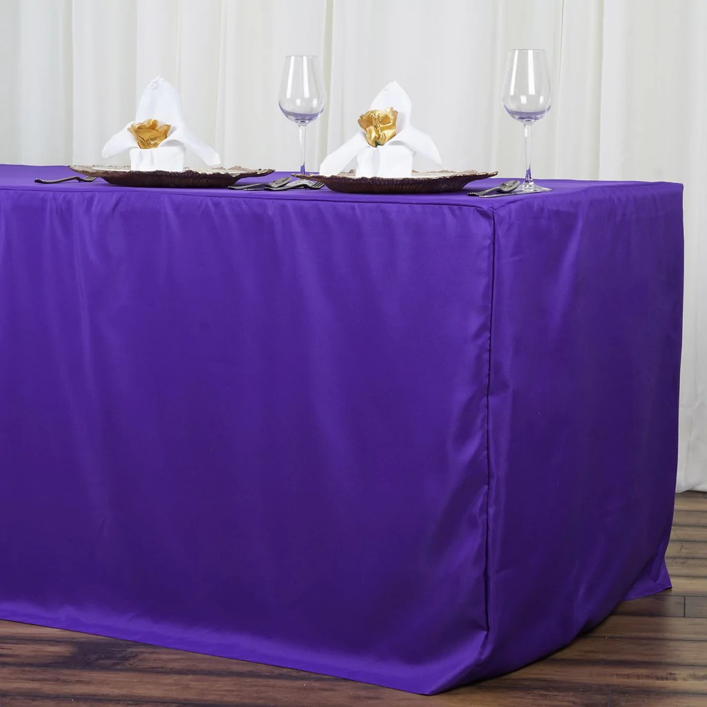 8ft Fitted Purple Polyester Table Cover Wedding