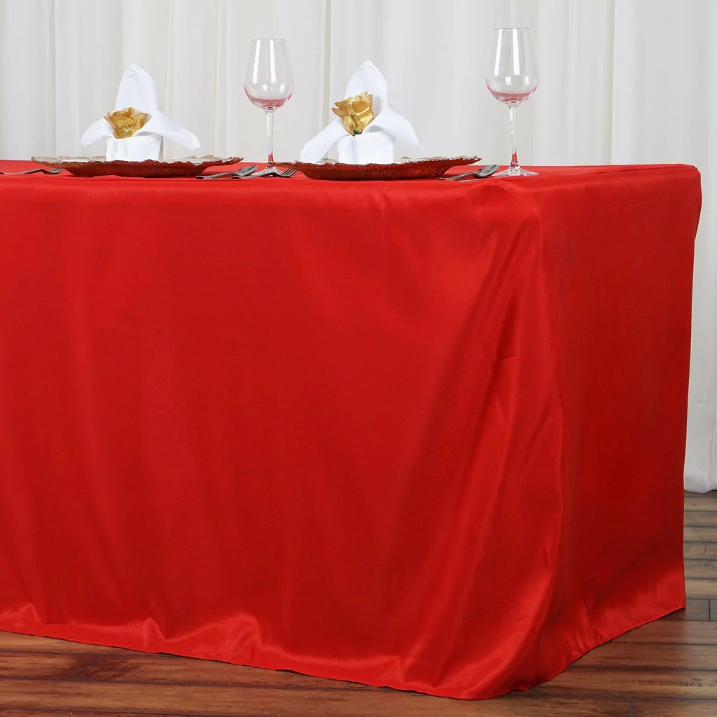 8FT Fitted RED Wholesale Polyester Table Cover Wedding