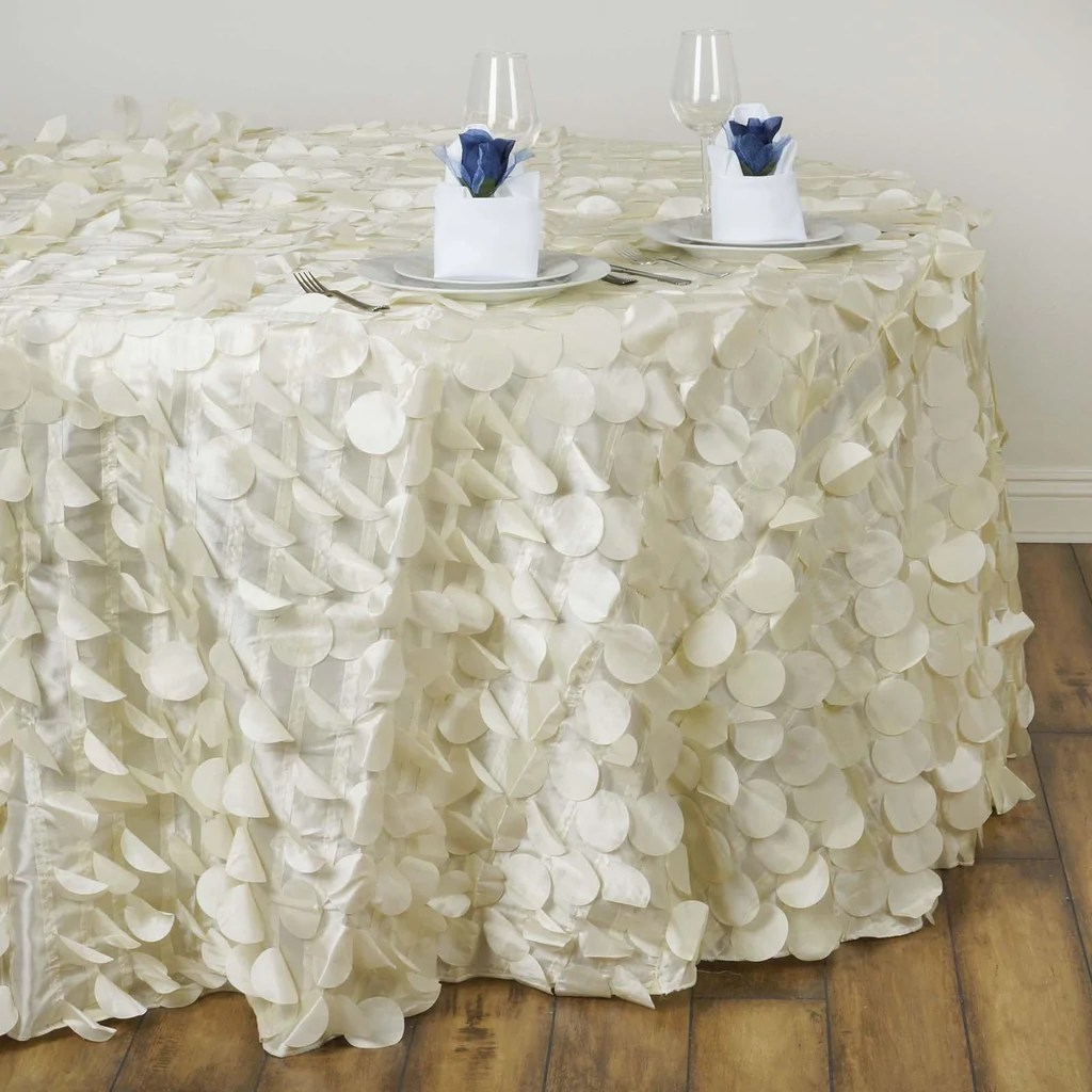 chair covers and table linens wholesale walmart game chairs 120 quot fancy ivory taffeta round petal tablecloth