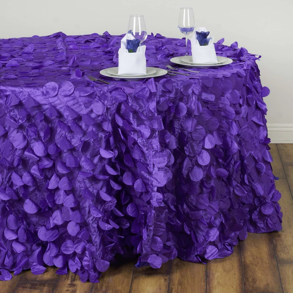 120 Fancy PURPLE Wholesale Taffeta Round Petal Tablecloth
