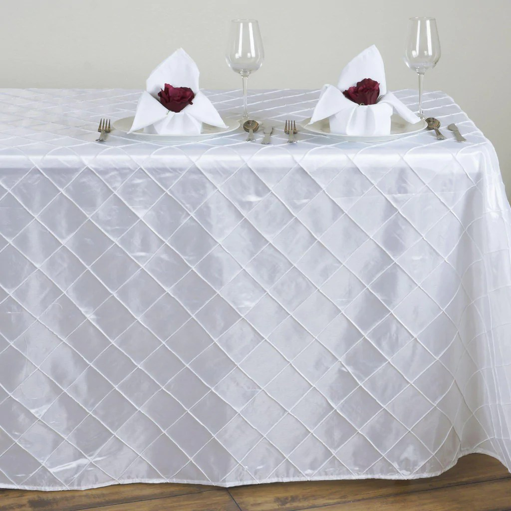 White Pintuck Tablecloth 90x132  Tablecloths Factory