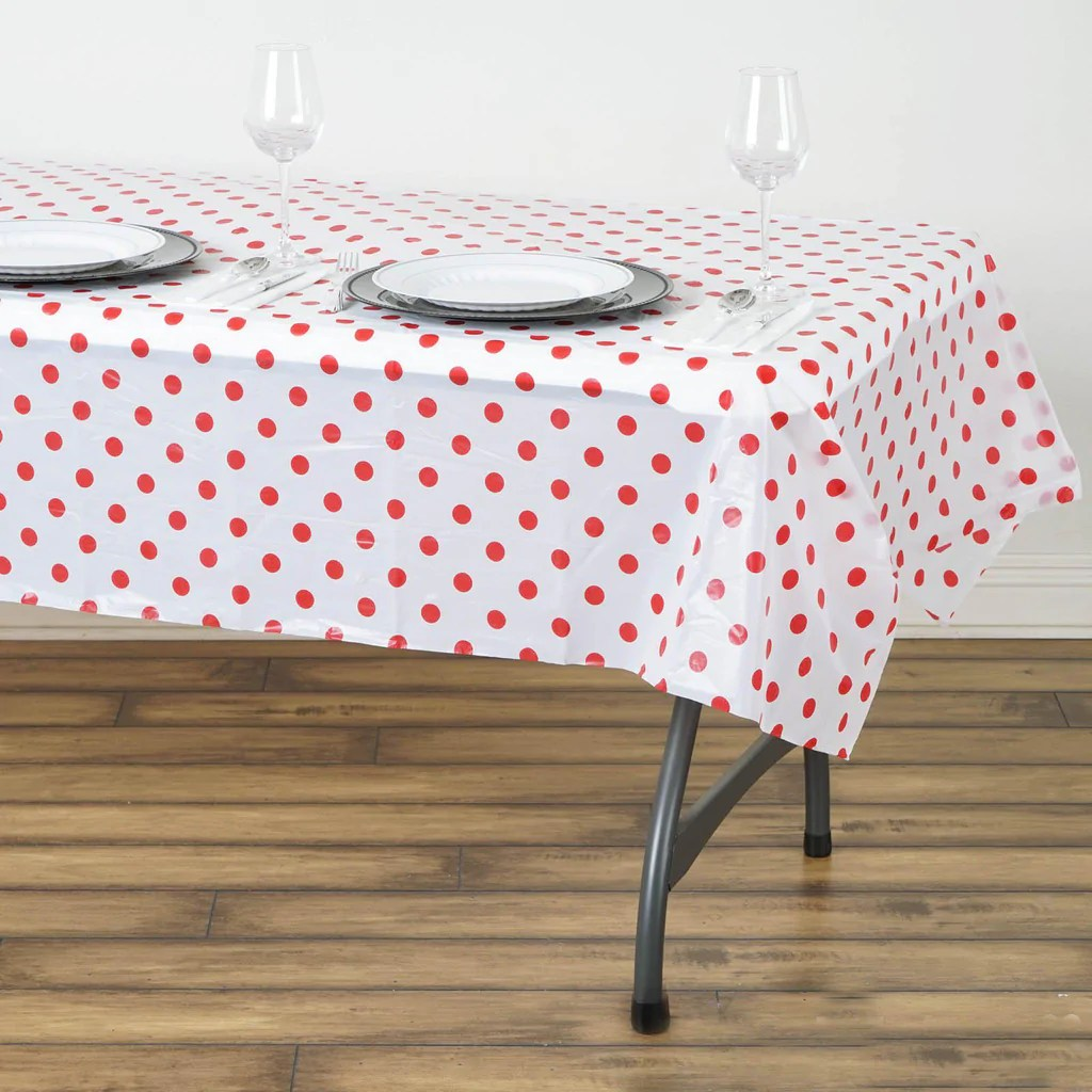 disposable plastic chair covers for parties restaurant chairs less 54 quot x 72 polka dots vinyl picnic