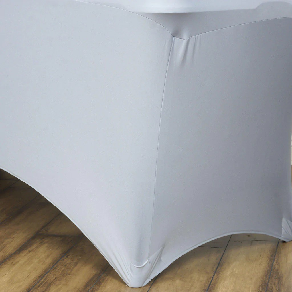 elastic plastic chair covers arm 6 ft rectangular spandex table cover silver
